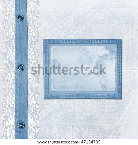 Blue album for photos with jeans and lace - stock photo