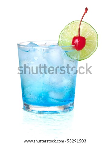 Blue alcohol cocktail with maraschino and lime. Isolated on white background - stock photo