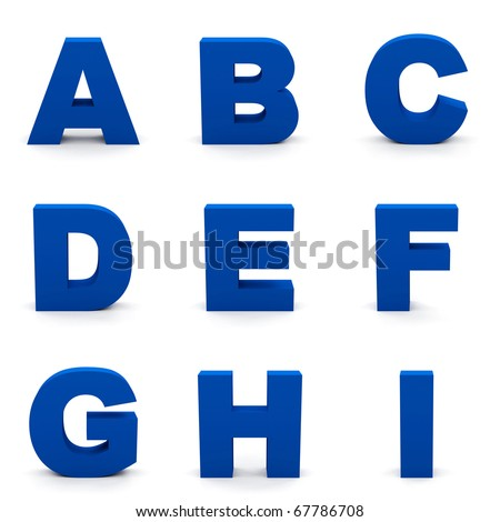 Blue alphabet. Set of  letters isolated on white. - stock photo