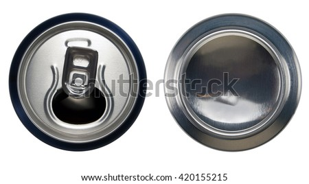 Blue aluminium open can and bottom can.