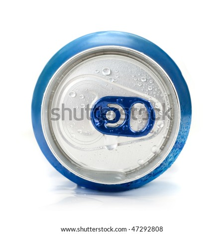 Blue aluminum can closeup with water drops on a white