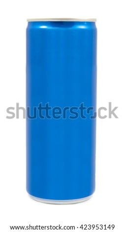 blue aluminum can isolated on a white - stock photo
