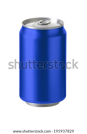 Blue aluminum cans with blank copy space, ideal for beer, lager, alcohol, soft drink, soda, lemonade, cola, energy drink, juice, water etc., Realistic photo image, - stock photo