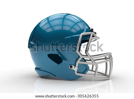 Blue american football helmet isolated on a white background