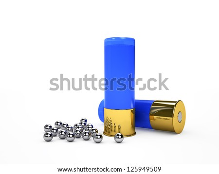 Blue ammo and shot, isolated on white render - stock photo