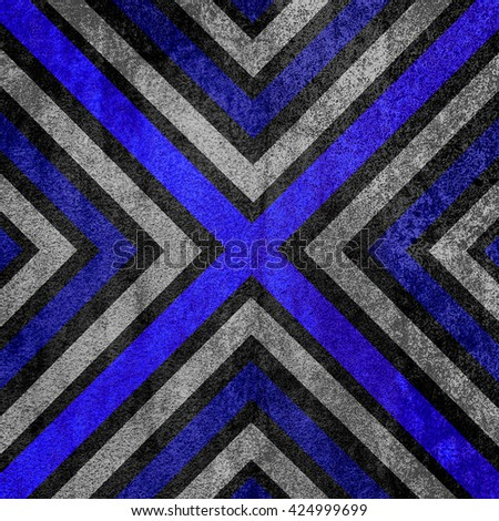 Blue and black abstract old background texture with X pattern. - stock photo