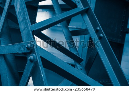 Blue and black abstract steel construction