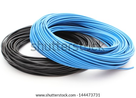 Blue and black cable isolated on white background