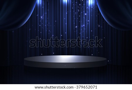 Blue and black curtain and round stage in the dark with spotlight, glittering and sparkling stars - stock photo
