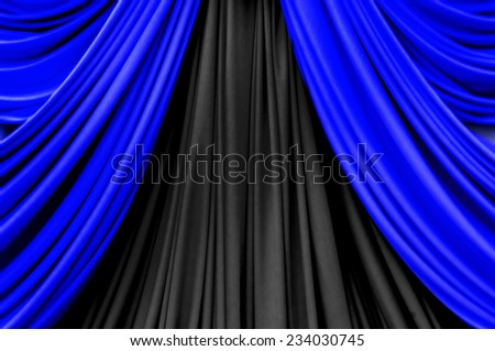 blue and black curtain on stage for luxury background - stock photo