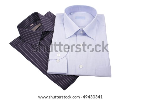 blue and black  shirts isolated on white - stock photo