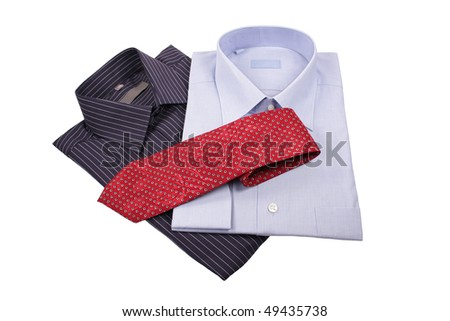 blue and black  shirts with red tie isolated on white - stock photo