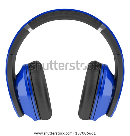 blue and black wireless headphones isolated on white background - stock photo
