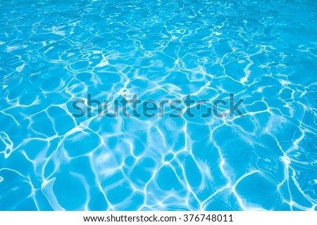 Blue and bright waer with sun reflection - stock photo