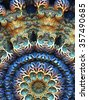 blue and brown three dimensional abstract graphic mandala close-up - stock photo