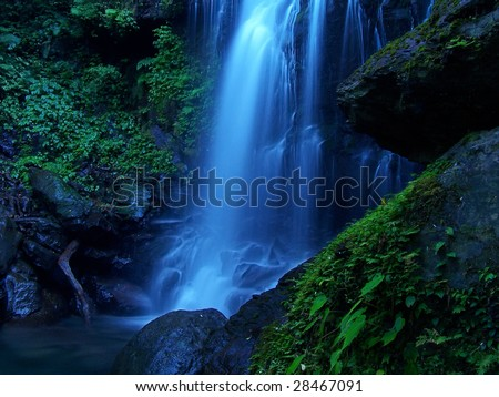 blue and cool waterfall - stock photo