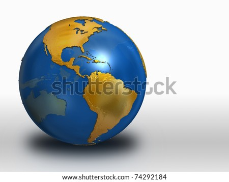Blue and Gold Earth over white background - western hemisphere - stock photo