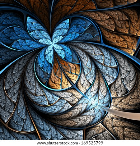 Blue and gold fractal flower or butterfly, digital artwork for creative graphic design - stock photo
