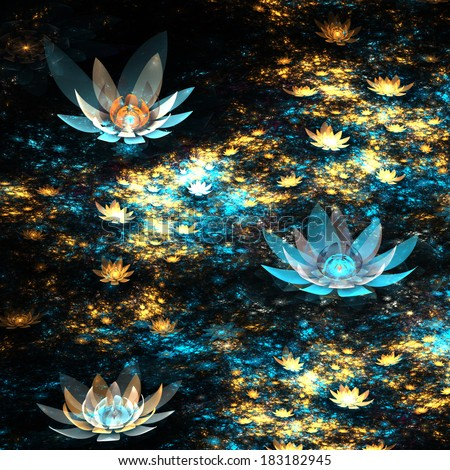 Blue and gold fractal flowers, digital artwork for creative graphic design - stock photo