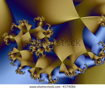 blue and gold fractal spiral - stock photo