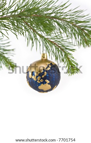 Blue and Gold Globe Christmas Ornament showing Asia Pacific Region - stock photo