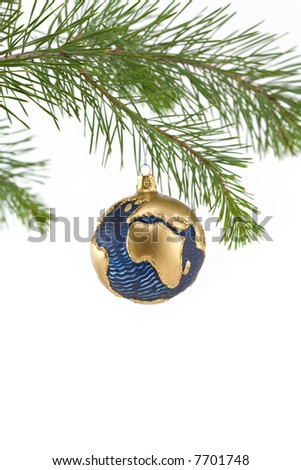 Blue and Gold Globe Christmas Ornament showing Europe and Africa - stock photo