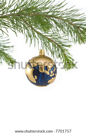 Blue and Gold Globe Christmas Ornament showing India, Asia, and Middle East - stock photo