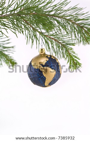 Blue and Gold Globe Christmas Ornament showing North and South America - stock photo