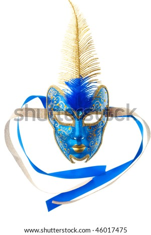 blue and gold mask isolated on a white background
