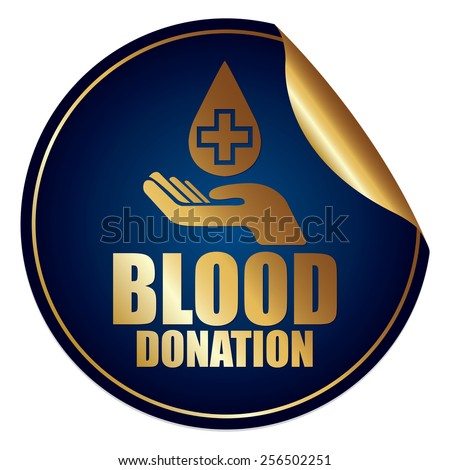 Blue and Gold Metallic Blood Donation Sticker, Icon or Label Isolated on White Background  - stock photo