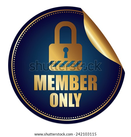 Blue and Gold Metallic Member Only Sticker, Icon or Label Isolated on White Background  - stock photo
