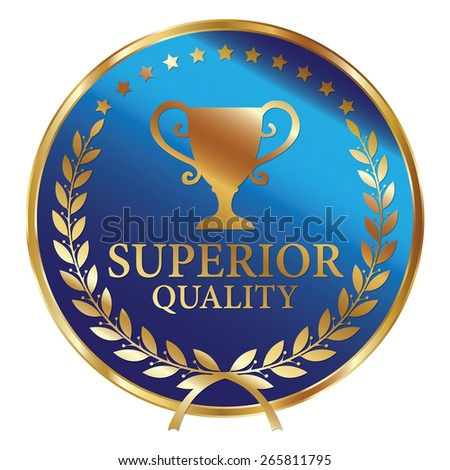 Blue and Gold Metallic Superior Quality Label, Sticker, Banner, Sign or Icon Isolated on White Background - stock photo
