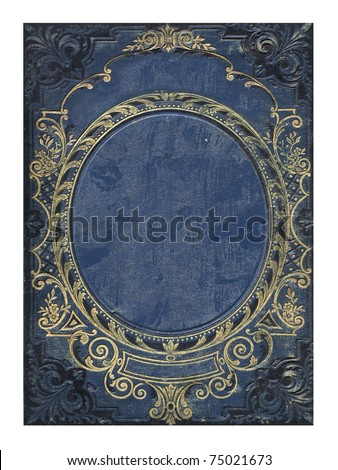 blue and gold old floral cover book - stock photo