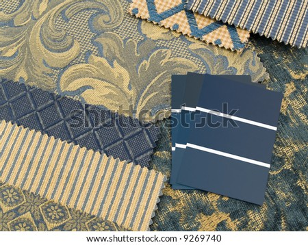 Blue and gold print interior decoration plan