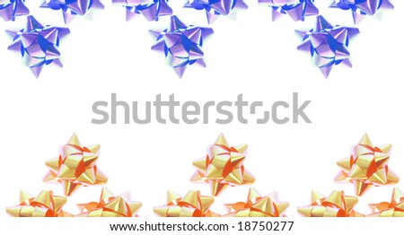 Blue and Gold Star Bows with Copy Space - stock photo
