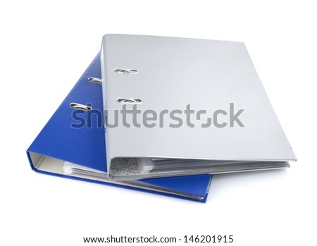 Blue and gray office folders, isolated on white background - stock photo