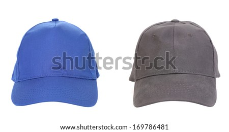 Blue and Gray working peaked caps. Isolated on a white background. - stock photo