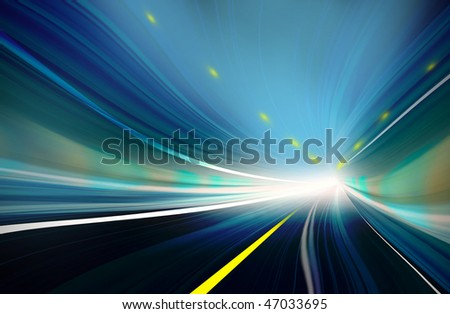 Blue and green Abstract blurred speed motion in urban highway tunnel, moving toward the light. Computer generated illustration. - stock photo