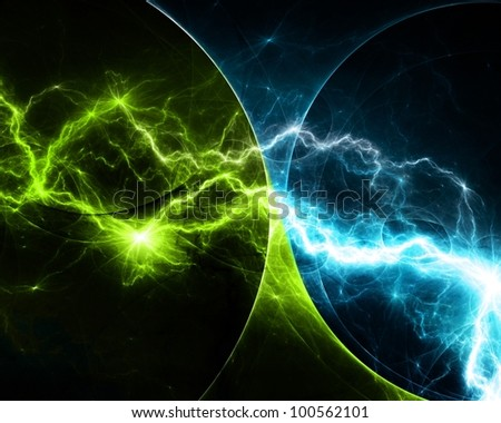 Blue and green abstract lightning - stock photo