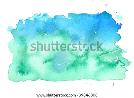 blue and green abstract watercolor background - stock photo