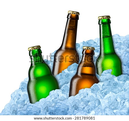 blue and green beer bottles on ice