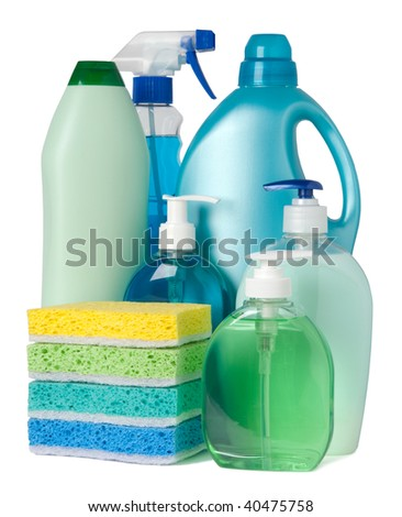 Blue and green containers of cleaning supplies - stock photo