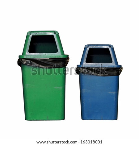 Blue and green dirty garbage bin isolated on white background