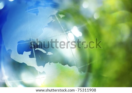 Blue and green earth background - stock photo
