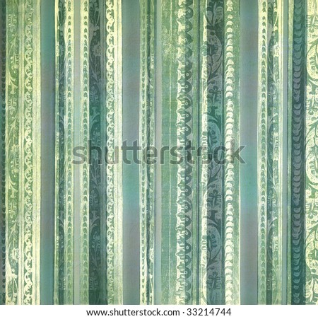 blue and green  floral embossed stripes - stock photo