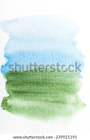 Blue and green gradient watercolor brush strokes on white rough texture paper  with space for your texts and images - stock photo
