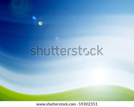Blue and green illustration, conceptual landscape with sunlight