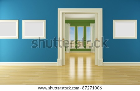 Blue and green interior with open classic sliding door and windows- rendering - stock photo