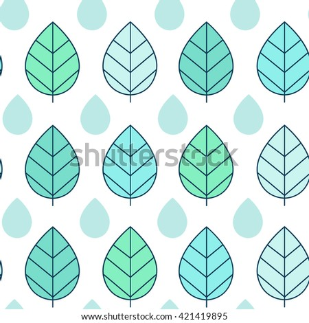blue and green leaf pattern seamless raster copy. - stock photo
