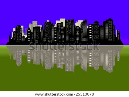 Blue and green New York city silhouette - stock photo